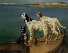 Maud Earl Two Setters And A Boston Terrier On A Barge Canvas 16 x 20 #2817