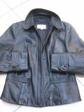 Ladies NEXT black real leather JACKET COAT size 10 12 biker style zip slim fit