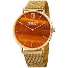 Men's August Steiner AS8218YG Orange Tiger Eye Dial Mesh Bracelet Quartz Watch