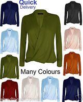 Ladies Womens Chiffon Long Sleeve Blouse V Neck T Shirt Wrap Front Top*WorkL