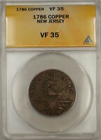 1786 New Jersey Copper Colonial Cent 1c ANACS VF-35 (Better Coin).