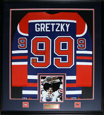 Wayne Gretzky Edmonton Oilers Signed jersey frame (blue and orange)