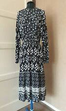 M&S Collection Monochrome Black & White Midi Dress Print Clash Size 14