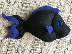 "Folkmanis Folktails Fish Puppet Plush Stuffed Animal 12"" Blue Dots"