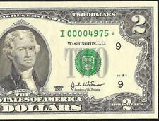 UNC 2003 $2 TWO DOLLAR BILL LOW SERIAL NUMBER 4975 STAR NOTE PAPER MONEY