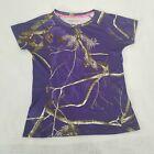 Realtree AP Women's Purple Dri More Tech Camo Short Sleeve Outdoors Shirt Size M