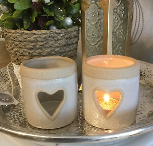 Set Of 2 Stone Heart Cut Out Cream Tea Light Candle Holders
