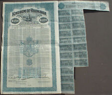 Kingdom of Roumania Comisión de Monopolios Institute 1000 $Gold Bond 1929 uncanc. + cupones