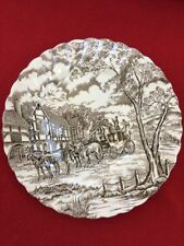 "VINTAGE BROWN TRANSFERWARE 10"" DINNER PLATE ROYAL MAIL STAFFORDSHIRE"