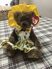 "1993 Ty Attic Plush Shaggy Brown 8"" Jointed Susannah The Sunflower Bear"