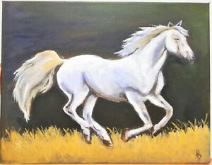 Hand Painted Running Horse Acrylic Painting Canvas Wall Art Home Decor Framed