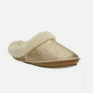 New Clarks Ladies Eskimo Ski Gold Metallic Slippers size UK 4 D Eu 37