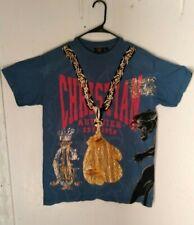 rare  Christian audigier  los angeles T-Shirt  mens Size L blue  with rhinestone