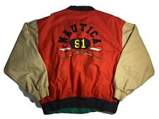 Vintage Reversible Nautica Bomber Jacket S1 Blue Red Tan Large Sailing 90s