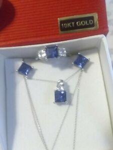 10k White Gold Blue & White Sapphire Ring Earrings Pendant Necklace Set !!! ❤️💎