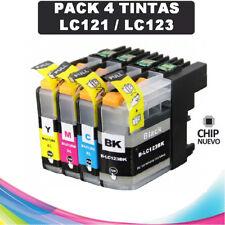 4 TINTAS COMPATIBLES PARA IMPRESORA BROTHER DCP-J132W DCPJ132W DCP J132W LC123