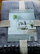 100 Cotton Herringbone Sofa Bed Settee Throw Cover Chair Bedspread Blanket Grey 170cm X 200cm