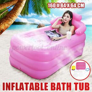Inflatable Bath Tub Adult Folding Portable Spa Warm Travel Blow Up Bathtub Pink
