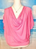 VARGA Womans PINK Stretch LIGHTWEIGHT Loose BOHO Top Juniors Shirt size Lg