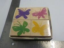 Hero Arts LL805 Bright Butterflies Wood Mounted Rubber Stamps EUC A8295