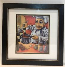 "Vintage Leonardo Multi-Color Chef Art Print By Will Rafuse Framed 14"" X 14"""