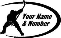 Hockey Team vinyl decal window sticker your name & number