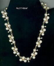 Goldtone Pearl and Rhinestone Necklace For Celebration Glitz