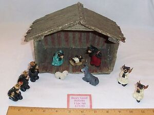 """PRICE REDUCED: WHIMSICAL """"BEARY GOOD NATIVITY SCENE-THE GATHERING"""" BY RJ ROWLEY"""