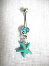 TURQUOISE BLUE STARFISH BEACH FUN REEF FISH SNORKEL 14G TURQUOISE CZ BELLY RING