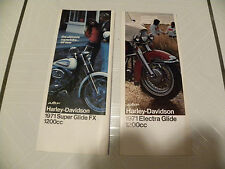 HARLEY two 1971 sales brochures FX Super Glide & FLH Electra Glide FREE SHIPPING