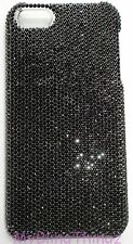 For New iPhone X - 7ss Jet BLACK Rhinestone Back Case made w/ Swarovski Crystals