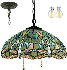 """Tiffany Pendant Lighting Rustic Chandelier Swag 16"""" Sea Blue Stained Glass"""