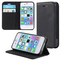 Funda-s Carcasa-s para Apple iPhone 4 4S Libro Wallet Case-s bolsa Cover Negro
