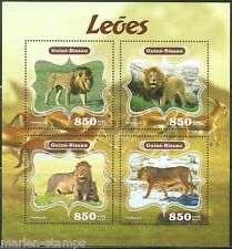 GUINEA BISSAU 2014 FAUNA LIONS SHEET OF FOUR STAMPS
