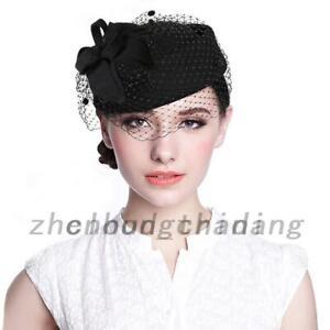 Vintage Pillbox Hat Mesh Veil Fascinator Cap Headpiece Clip for Wedding Party