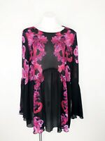 NWT Free People Printed Symphony Bell Sleeve Swing Dress Black Pink S OB721476