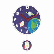 Reloj De Pared London Clock Co 40cm Azul De Péndulo de niños de cohete