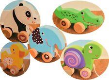 Holz Nachziehtier Ziehtier Holzspielzeug Schildkröte Krokodil Elefant Panda Ente