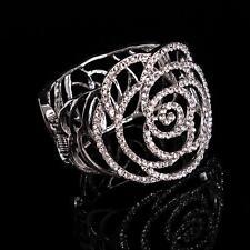 Ahuecado Rosa Novia Cristal Pulsera Brillante con Cuentas Diamante Boda Pulsera