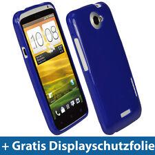 Blau Glänzend Tasche für HTC One X + Plus Android Gel TPU Hülle Etui Eins 1