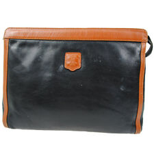 Authentic CELINE Clutch Hand Bag Black Brown Leather Italy Vintage RB3566s