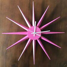 Mid Century Modern  Retro Style Pink Starburst Sunburst Kitchen Wall Clock