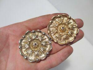 Brass Ormolu Furniture Hardware Rose Floral Flower Mount Tudor Rose 5cm - £3each