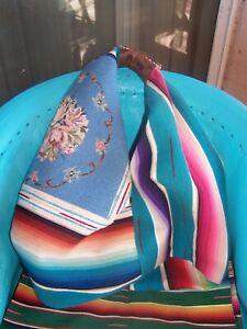 $450~HUGE Western Floral Needlepoint Vintage Serape Hobo Bag~TOTEM SALVAGED