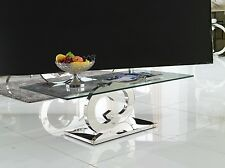 Modern Coffee Table Chrome Glass CC Venetian Metal Contemporary Designer