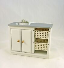 Dollhouse Miniature Laundry Kitchen Sink with Baskets, M1839, White