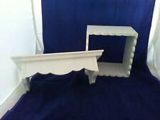 Vintage Wooden Trinket Wall Shelf & Cubbie Scalloped Edge