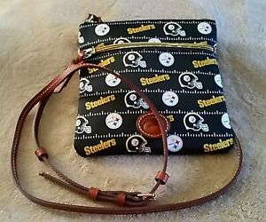 NWT MSRP $128 Pittsburgh Steelers Cross Body Purse Leather Strap Football NFL