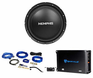 "Memphis Audio SRX1044 10"" 400w SRX Car Subwoofer Sub+Mono Amplifier+Amp Kit"