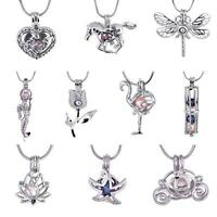 10Pcs/Pack 18K White Gold Plated Pearl Cage Holder DIY Pendant Necklace CA&18